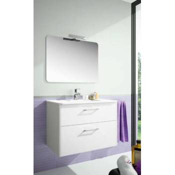 Mobile washbasin with mirror and lamp
